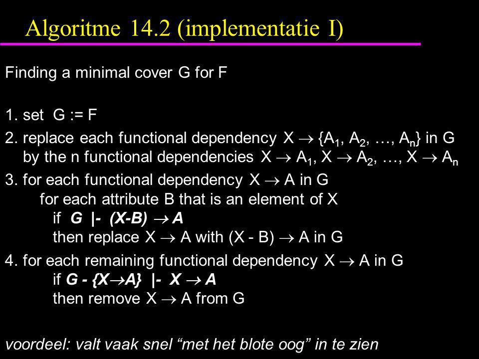 Algoritme 14.2 (implementatie I)
