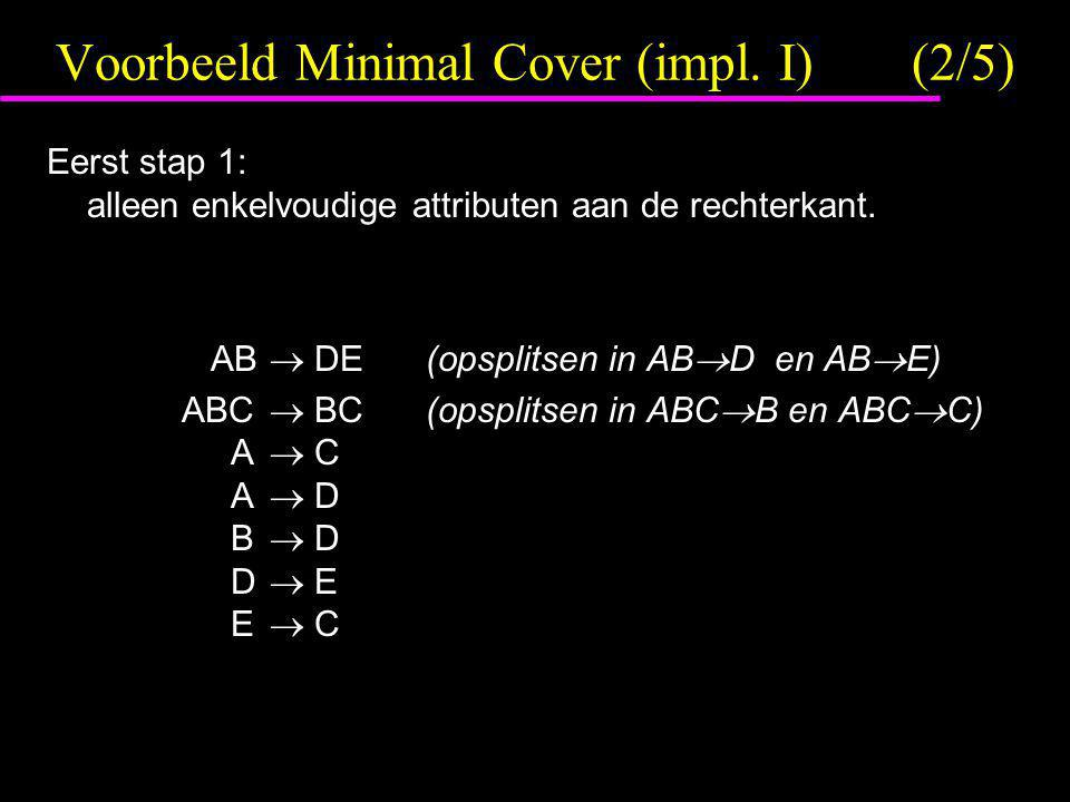 Voorbeeld Minimal Cover (impl. I) (2/5)