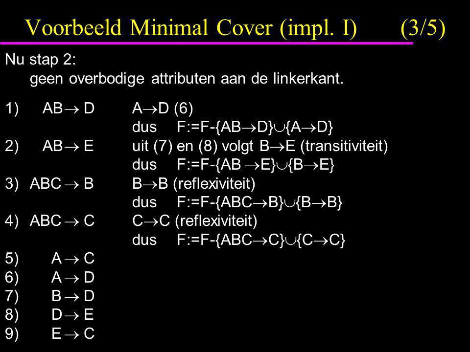 Voorbeeld Minimal Cover (impl. I) (3/5)