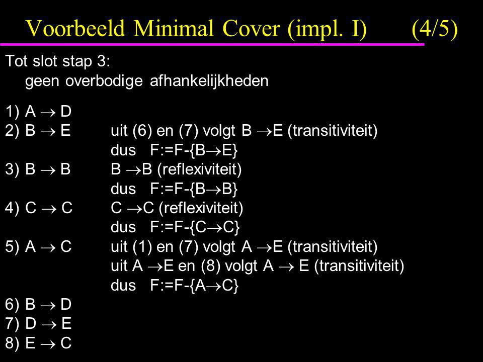 Voorbeeld Minimal Cover (impl. I) (4/5)