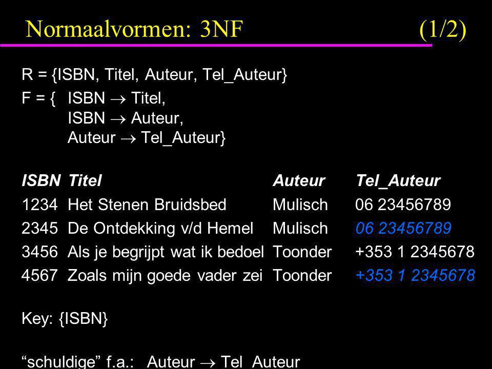 Normaalvormen: 3NF (1/2) R = {ISBN, Titel, Auteur, Tel_Auteur}