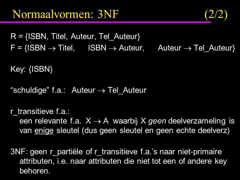Normaalvormen: 3NF (2/2) R = {ISBN, Titel, Auteur, Tel_Auteur}