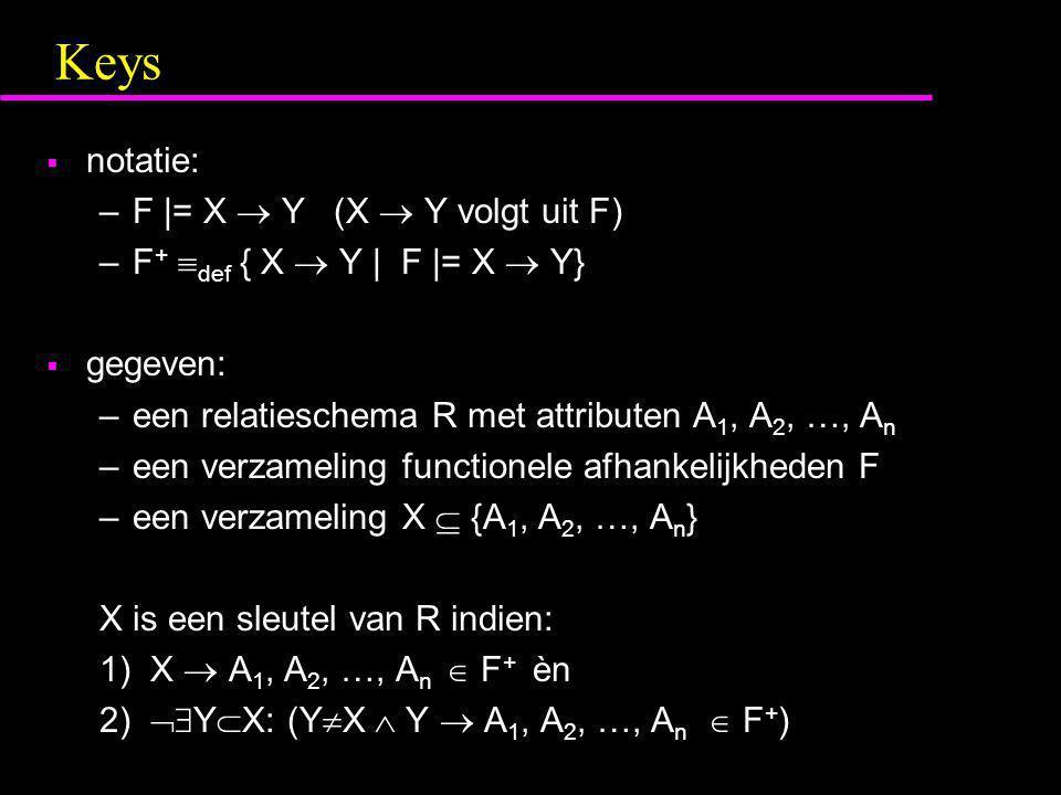 Keys notatie: F  = X  Y (X  Y volgt uit F)