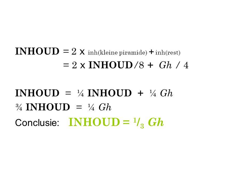 INHOUD = 2 x inh(kleine piramide) + inh(rest)