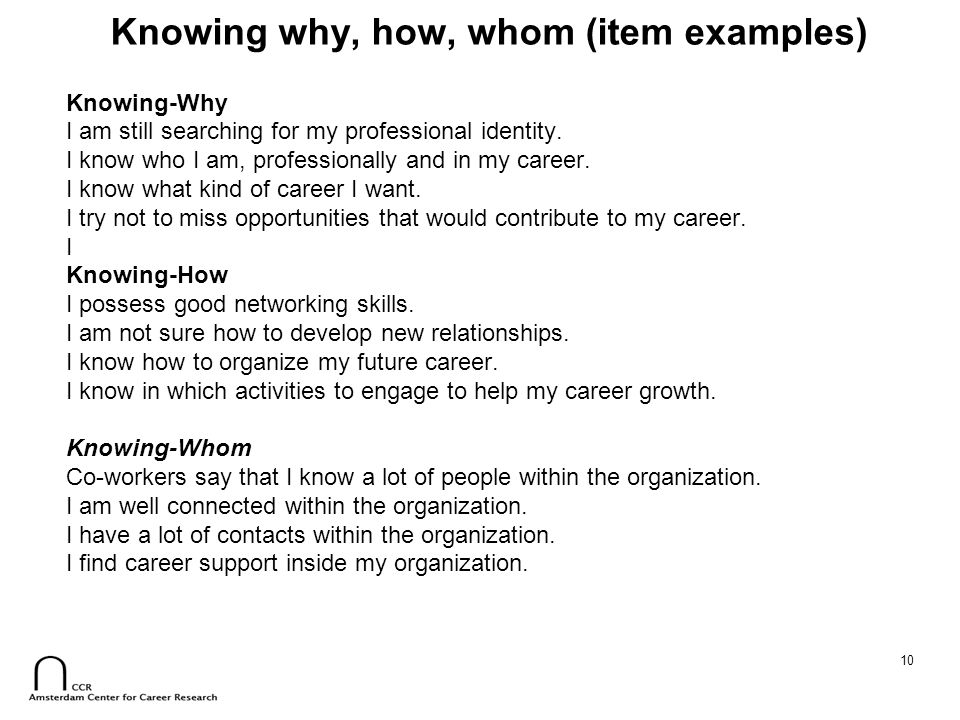 Knowing why, how, whom (item examples)