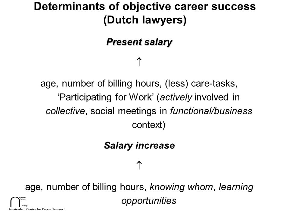 Determinants of objective career success (Dutch lawyers)