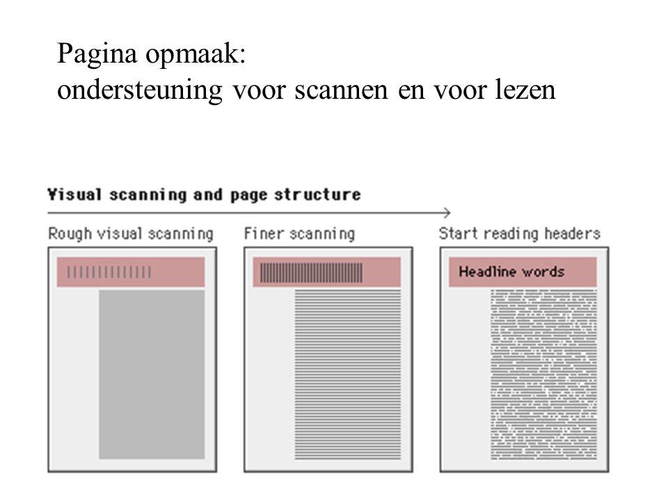 Pagina opmaak: ondersteuning voor scannen en voor lezen