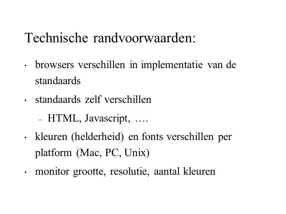 Technische randvoorwaarden: