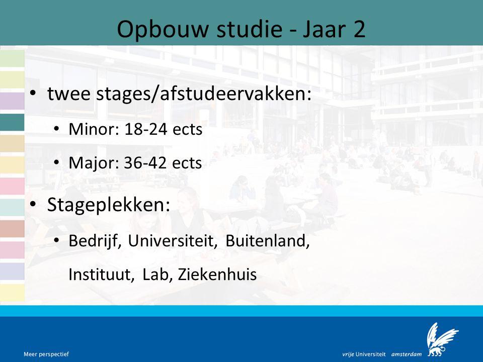Opbouw studie - Jaar 2 twee stages/afstudeervakken: Stageplekken: