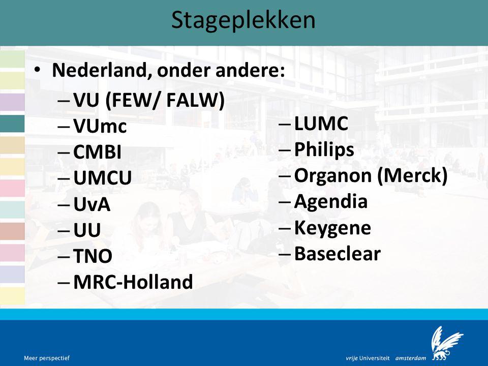 Stageplekken Nederland, onder andere: VU (FEW/ FALW) VUmc LUMC CMBI
