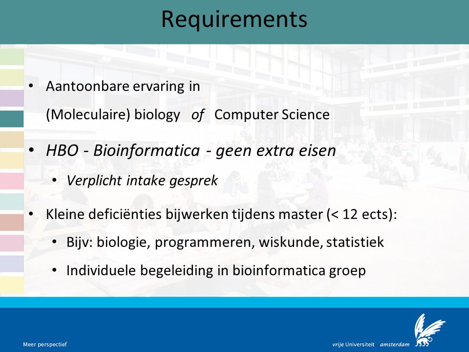 Requirements HBO - Bioinformatica - geen extra eisen