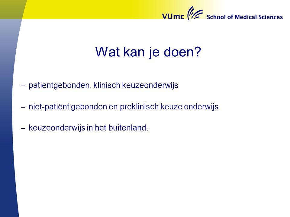 Wat kan je doen patiëntgebonden, klinisch keuzeonderwijs