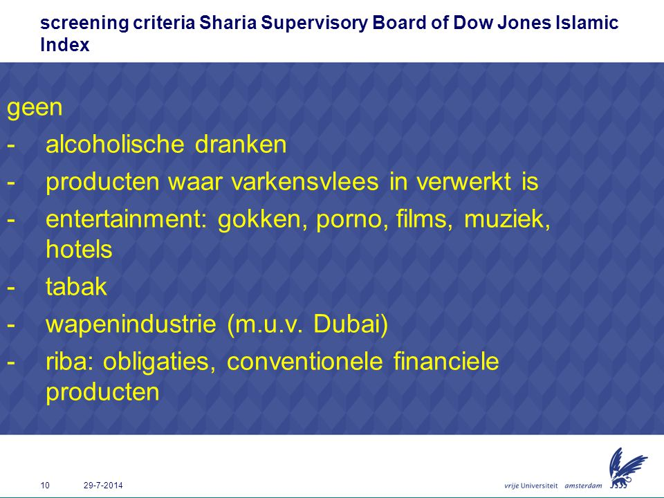 screening criteria Sharia Supervisory Board of Dow Jones Islamic Index