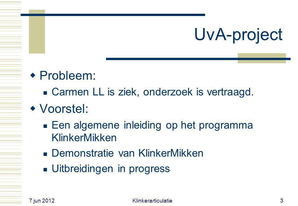 UvA-project Probleem: Voorstel: