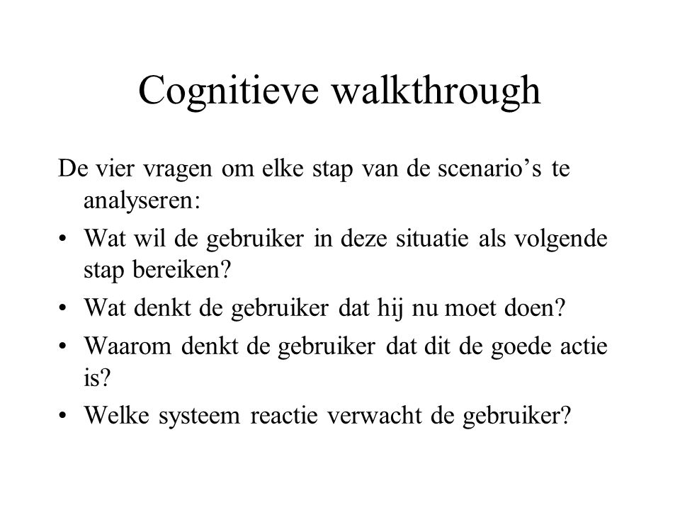 Cognitieve walkthrough
