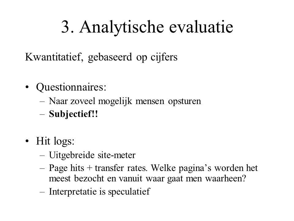 3. Analytische evaluatie