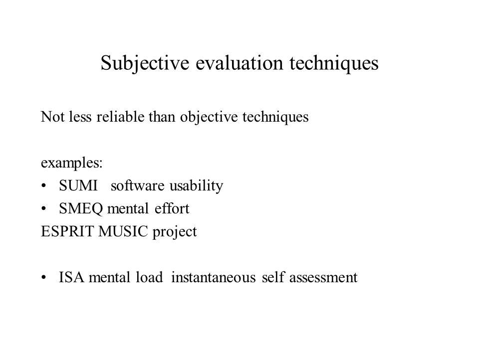 Subjective evaluation techniques