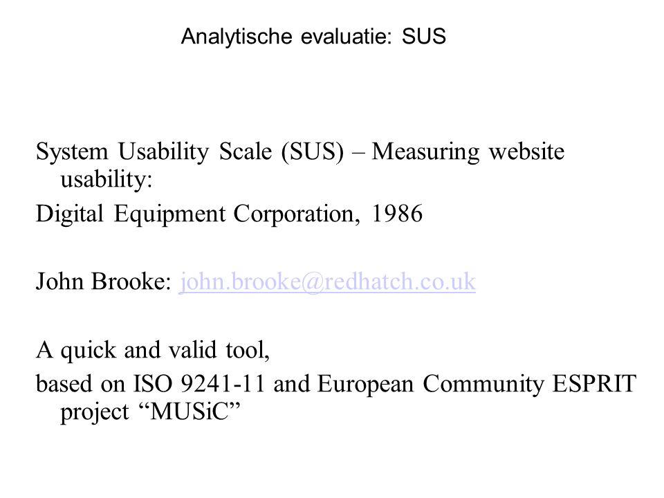 Analytische evaluatie: SUS