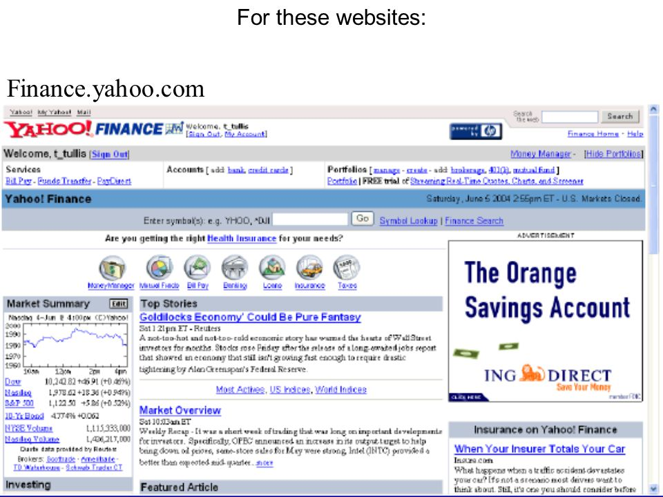 For these websites: Finance.yahoo.com
