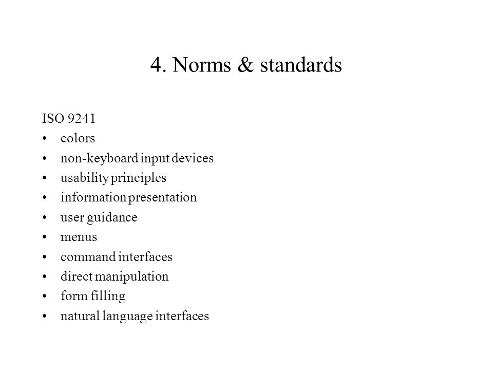 4. Norms & standards ISO 9241 colors non-keyboard input devices