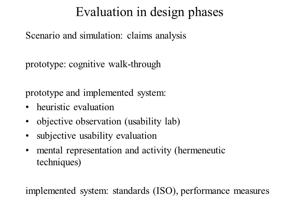 Evaluation in design phases