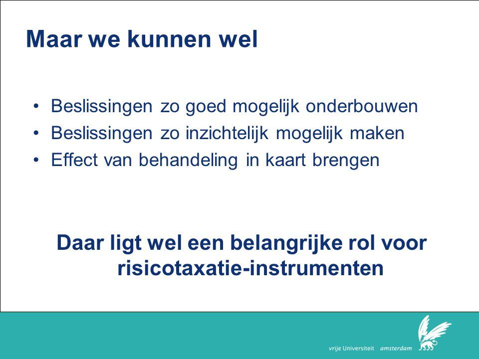Daar ligt wel een belangrijke rol voor risicotaxatie-instrumenten