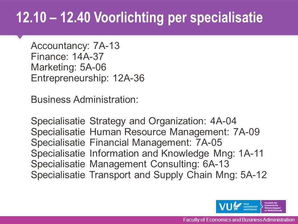 12.10 – 12.40 Voorlichting per specialisatie