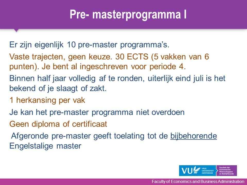 Pre- masterprogramma I