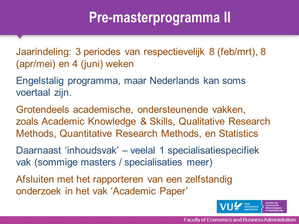 Pre-masterprogramma II