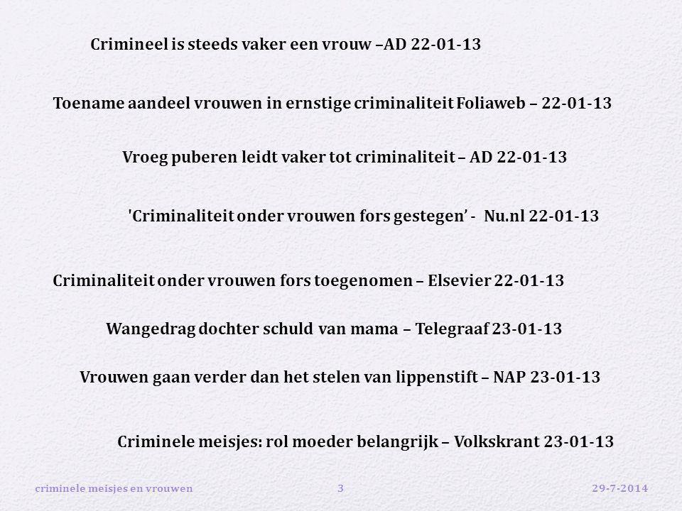 Crimineel is steeds vaker een vrouw –AD 22-01-13