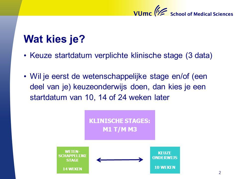 Wat kies je Keuze startdatum verplichte klinische stage (3 data)