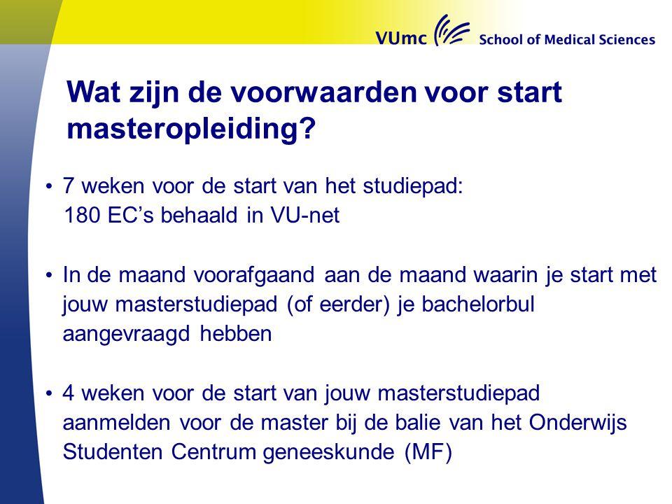 Wat zijn de voorwaarden voor start masteropleiding