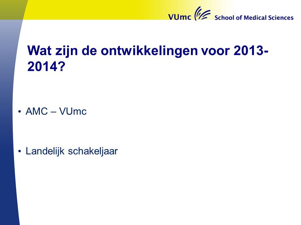Wat zijn de ontwikkelingen voor 2013-2014