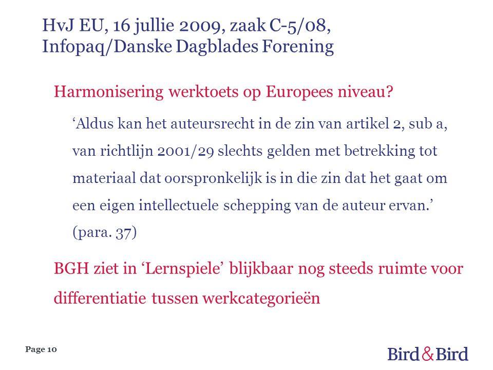HvJ EU, 16 jullie 2009, zaak C-5/08, Infopaq/Danske Dagblades Forening