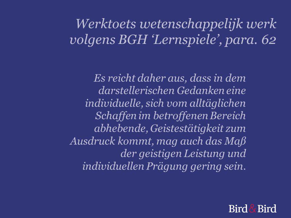 Werktoets wetenschappelijk werk volgens BGH 'Lernspiele', para. 62