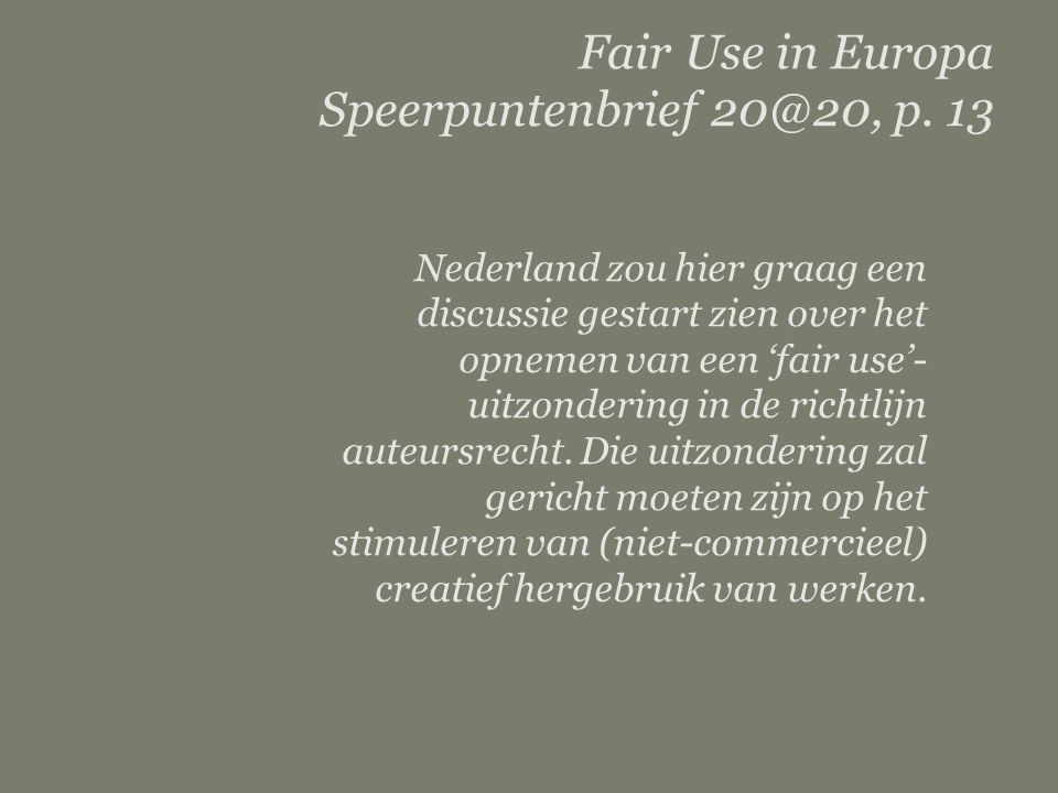 Fair Use in Europa Speerpuntenbrief 20@20, p. 13