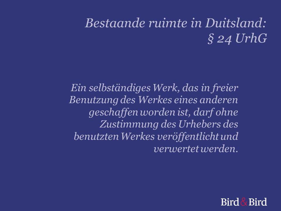 Bestaande ruimte in Duitsland: § 24 UrhG