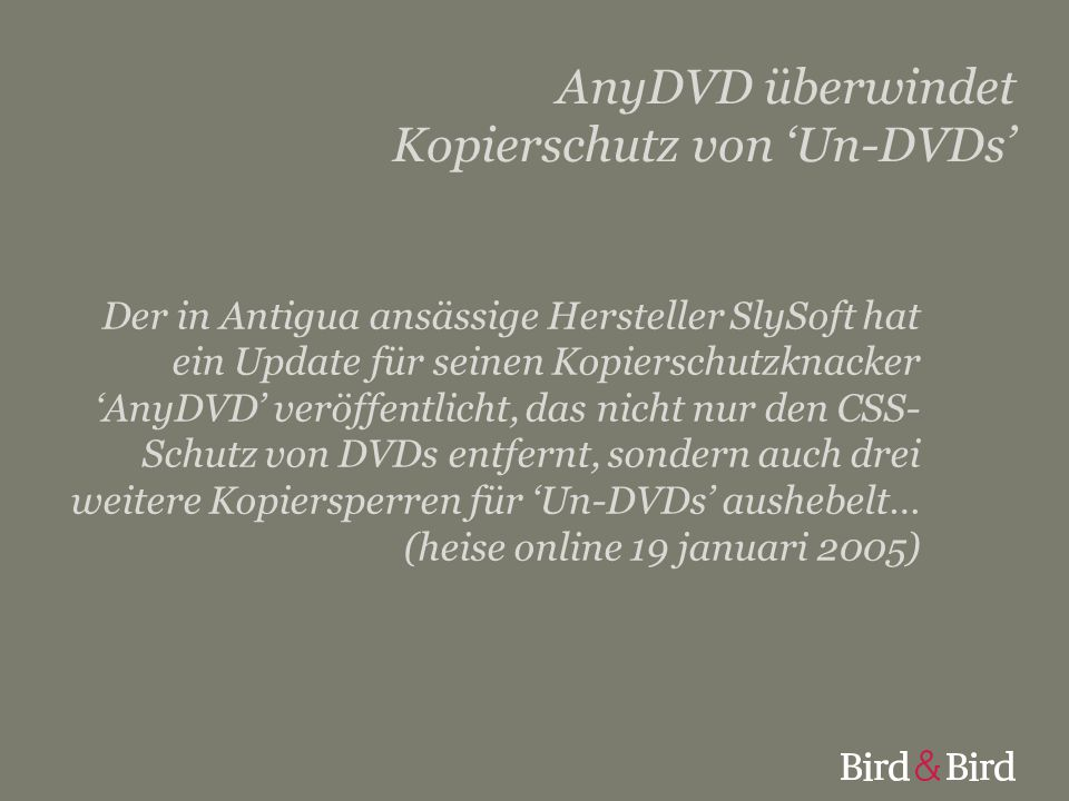 AnyDVD überwindet Kopierschutz von 'Un-DVDs'