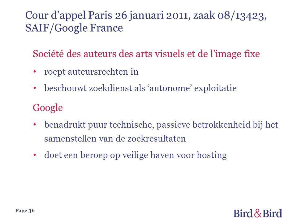 Cour d'appel Paris 26 januari 2011, zaak 08/13423, SAIF/Google France