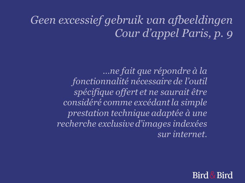 Geen excessief gebruik van afbeeldingen Cour d'appel Paris, p. 9