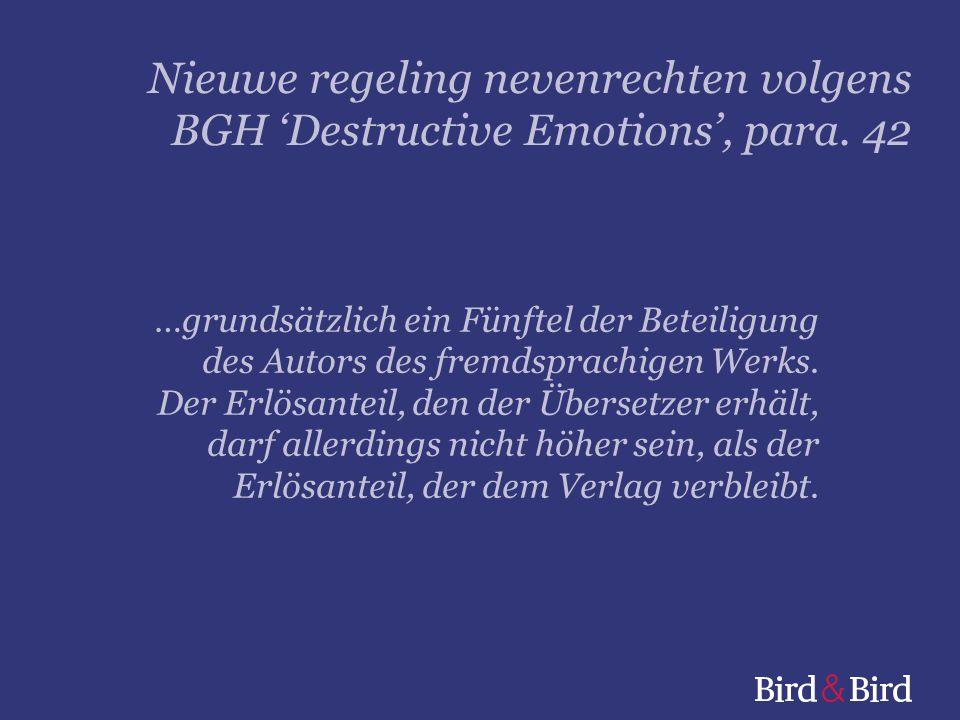 Nieuwe regeling nevenrechten volgens BGH 'Destructive Emotions', para