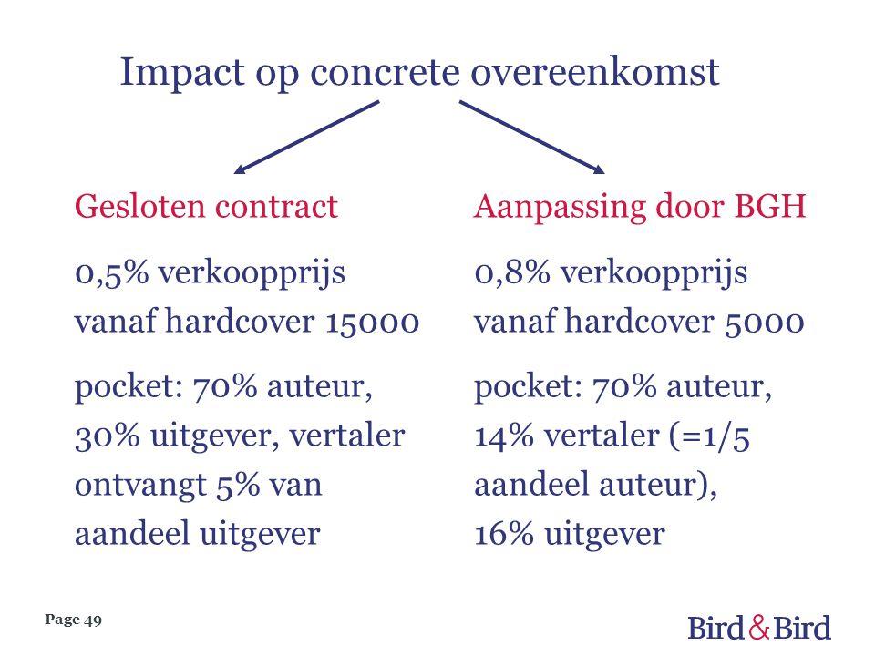 Impact op concrete overeenkomst