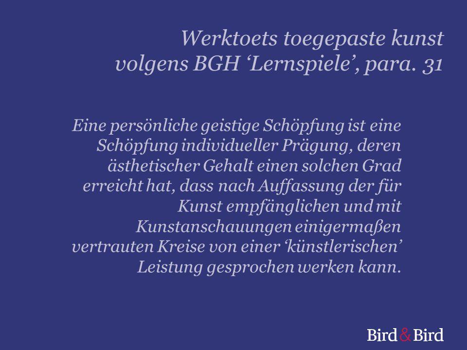 Werktoets toegepaste kunst volgens BGH 'Lernspiele', para. 31