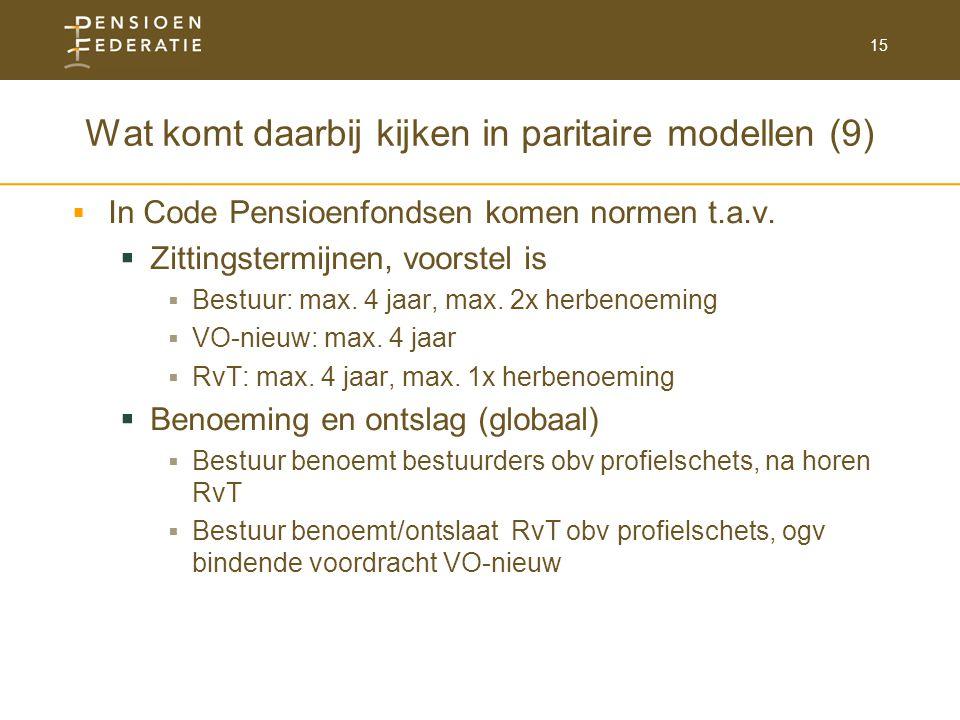 Wat komt daarbij kijken in paritaire modellen (9)
