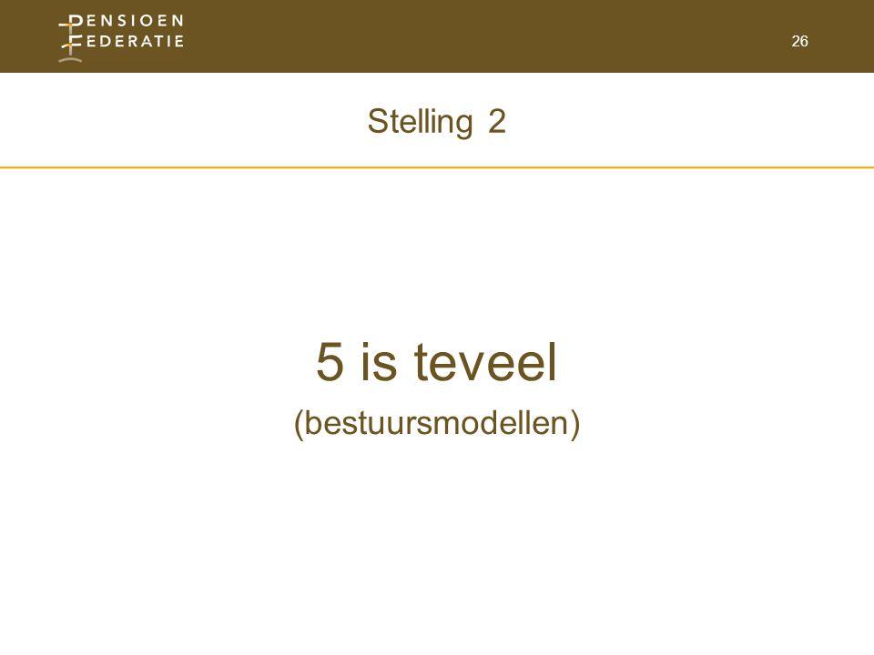 Stelling 2 5 is teveel (bestuursmodellen)