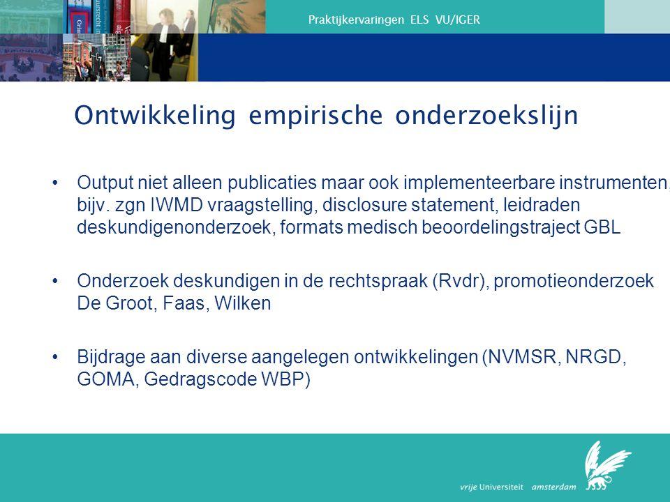 Ontwikkeling empirische onderzoekslijn