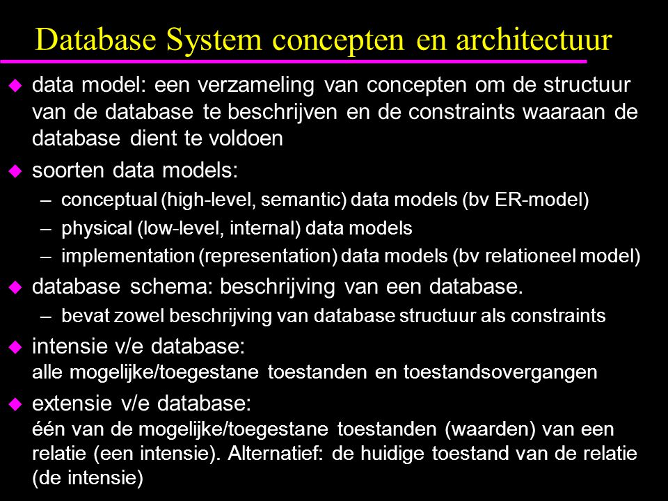 Database System concepten en architectuur
