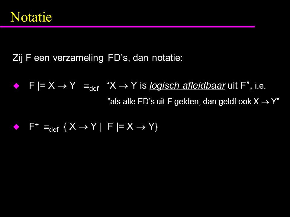 Notatie Zij F een verzameling FD's, dan notatie: