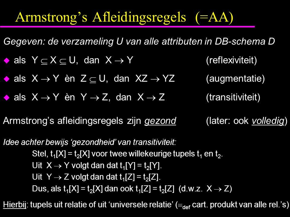 Armstrong's Afleidingsregels (=AA)