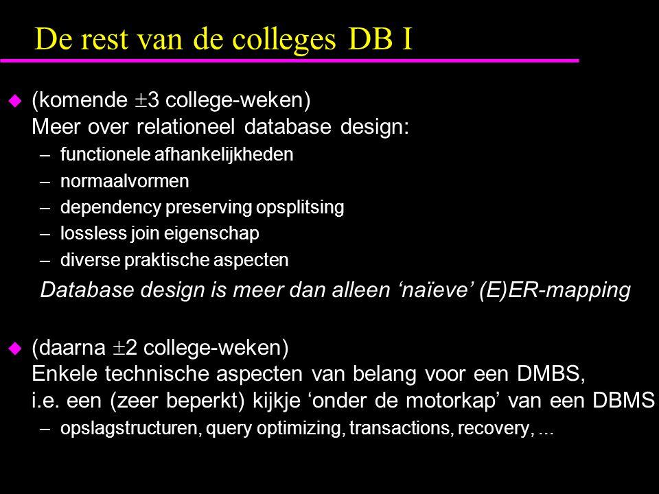 De rest van de colleges DB I